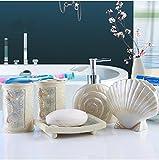 MAFYU Toilettenartikel Bad fünf Sätze von europäischen minimalistischen Stil Keramikdekoration Ornamente Hochzeitsgeschenke (Seifenspender, MOU Thwash Tasse, Zahnbürste Cup, Seifenschale)