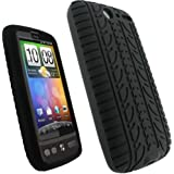 iGadgitz Black Silicone Skin Case Cover with Tyre Tread Design for HTC Desire S Android Smartphone Mobile Phone + Screen Protector