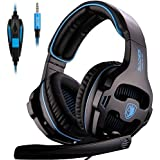 [nuevo revisado Versión] Sades 810s Stereo Gaming Headset Auriculares con volumenausgleich Mic para New Xbox One, PS4, PS4Pro, PC, Laptop, Mac, Phone–Negro