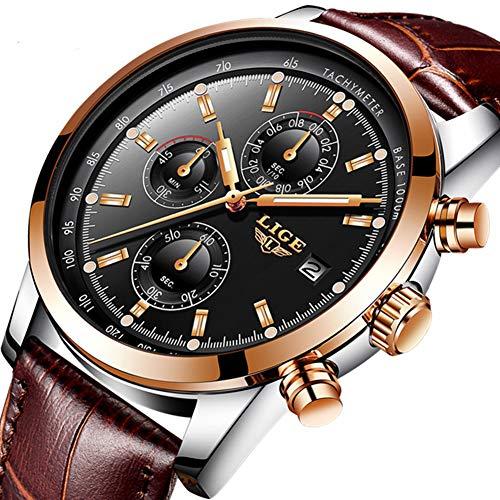 Herren uhren Wasserdicht Sport Chronograph Datum Analog Quarzuhr Männer Luxusmarke LIGE Mode Geschäft Braun Leder Herren Armbanduhr