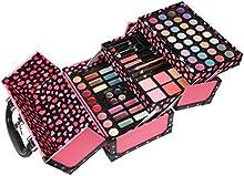 Caso de la Vanidad Maquillaje Belleza Cosméticos Plegable Glam Rock Rosa Imitación de Cuero 77 Piezas