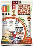 Housses de rangement sous vide - 7 sacs de voyages pour économiser de l'espace - 2 XL , 2 L et 3 M - Sac de compression aspirable pour ranger vêtements, couettes, lit et valise - DIBAG