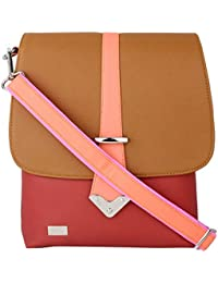 K London Medium Sized Casual Multi-color Artificial Leather Sling Bag For Women & Girls (Brown,Red,Peach) (1308...
