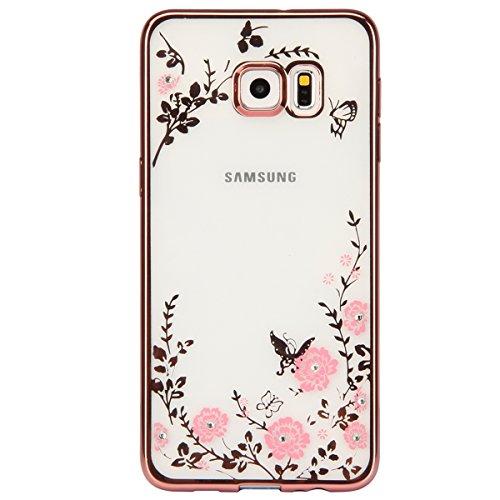 FESELE Coque pour Samsung Galaxy S6 Edge Plus,Samsung Galaxy S6 Edge Plus Coque Silicone Étui Ultra Mince Housse,Samsung Galaxy S6 Edge Plus Souple Coque Etui en Silicone TPU Case Soft Cover,Miroir Ar Rose Gold,Rose Fleurs