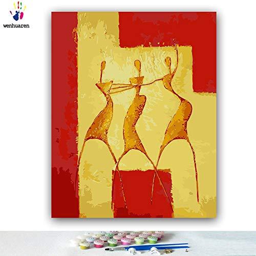 Malen nach Zahlen Kits 40,6 x 50,8 cm Leinwand-Ölgemälde für Kinder, Studenten, Erwachsene, Anfänger mit Pinsel und Acryl-Pigment - Drei Frauen tanzen in Picasso (ohne Rahmen)