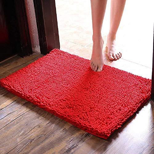 gaox Shenney Matratze, Badezimmertür, Fußmatte, Tür, Teppichboden, Badezimmertür, Wasser-und Dichtungsringe. 60 * 90 Starke Verschlüsselung/Hellrot