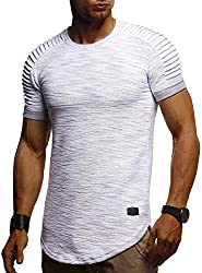 Leif Nelson Herren Sommer T-Shirt Rundhals-Ausschnitt Slim Fit Baumwolle-Anteil Moderner Männer T-Shirt Crew Neck Hoodie-Sweatshirt Kurzarm lang LN6325 Grau Large