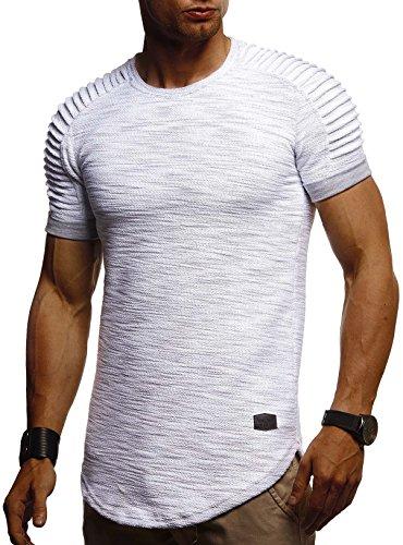 LEIF NELSON Herren Sommer T-Shirt Rundhals-Ausschnitt Slim Fit Baumwolle-Anteil | Moderner Männer T-Shirt Crew Neck Hoodie-Sweatshirt Kurzarm lang | LN6325 Grau Medium -