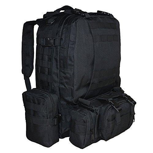 Imagen de  táctica militar versión actualizada, topqsc  de moda 55l múltiples colores para senderismo montañismo marcha macuto al aire libre bolsa de viaje de calidad alta negro  alternativa
