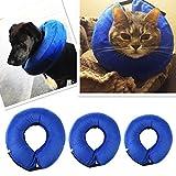 Aolvo Blau Hund Aufblasbarer Schutzkragen, Hundekragen E-Collar Cone Verhindern Haustiere von beißenden Verletzungen Hautausschläge und Wunden