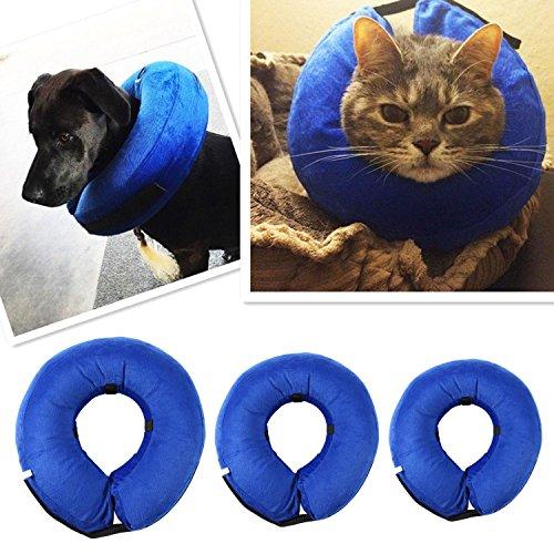 Azul Hinchable Cuello Ajustable E-Collar para Gatos y Perros
