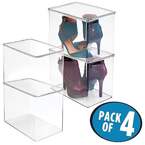 mDesign 4er-Set Schuhaufbewahrung aus Kunststoff – stapelbarer Schuhkasten für hohe Schuhe oder mit Absatz – für High Heels, Pumps und Boots – Schuhkiste für den Flur oder Schrank - durchsichtig