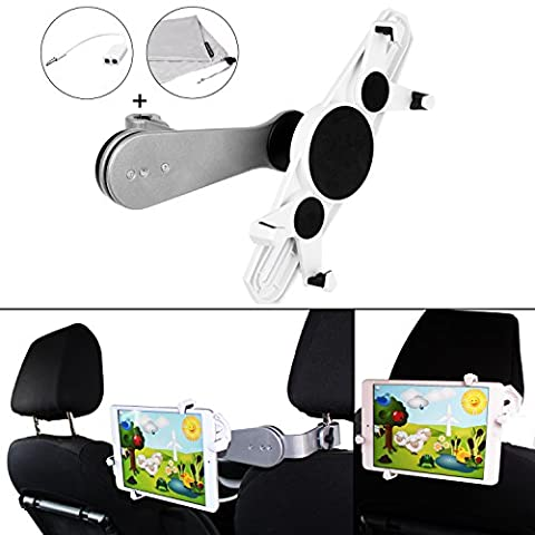 Evofaktur Car Tablet Stand Holder/iPad Holder for the headrest for all sizes from 7–10.4inches–solidly made from Aluminium–Between seats. Also for Two Children on the rear seats–Complete with bag and Y Cable for Two Headphones