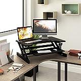 DEVAISE Höhenverstellbare Sitz-Steh Computer Schreibtische/Stehpult; Alulegierung, 81cm Breite, Schwarz