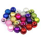 Abcsea Weihnachtsbaum Kugeln Ornamente, 24 PCS Weihnachtskugel Dekorationen, Hotel Hängen Ball, Kunststoff Beschichtung Ball, Baumkugeln Klein Für Urlaub Hochzeit Dekoration - 1,57