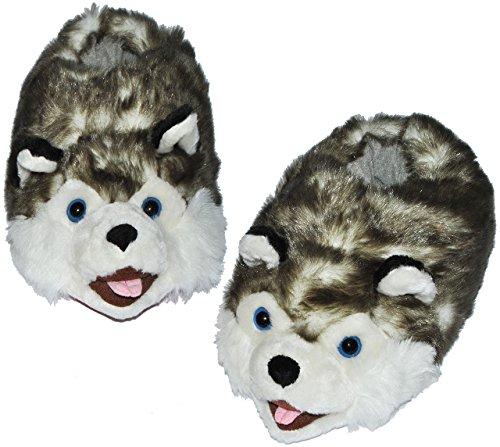 Unbekannt Hausschuh / Pantoffel -  Wolf  - Größe Gr. 43 - bis - 48 - Plüschhausschuh / Tier - Tiere - für Kinder & Erwachsene - Plüsch / Winterhausschuhe - Hausschuhe..