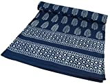 Blockdruck Tagesdecke, Bett & Sofaüberwurf, handgearbeiteter Wandbehang, Wandtuch - indigo Federn / Tagesdecken mit Blockdruck/ Variante: Größe: Double 225*275 cm