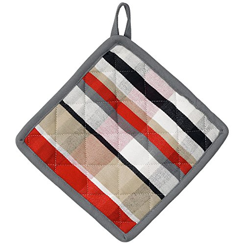 kela 11740 Tabea Manique Motif carré Coton Blanc/Rouge/Taupe 20 x 20 x 2 cm