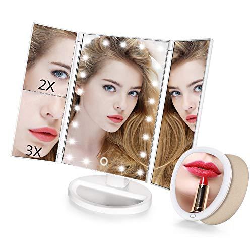HOSDEY Espejo Maquillaje Luz Led Espejo Tríptico