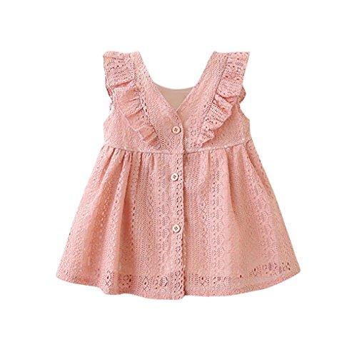 JYJM Baby Mädchen Kleidung Set lässig Mädchen Sommer Mode Mädchen Rock Bluse Mädchen Volants Spitzenkleid Rock Prinzessin Kleid Weste Jacke Anzug Tanzrock Leistung Kleidung (Größe: 18 Monate, Rosa)