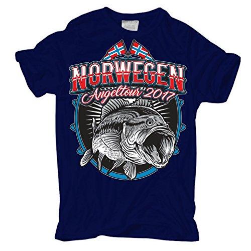Männer und Herren T-Shirt Norwegen Angeltour 2017 körperbetont dunkelblau