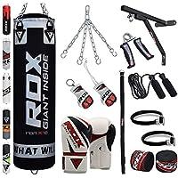 RDX Sac de Frappe Rempli Lourd MMA Punching Ball Kickboxing Muay Thai Arts Martiaux Boxe avec Gants Chaine Suspension Support Mural Punching Bag
