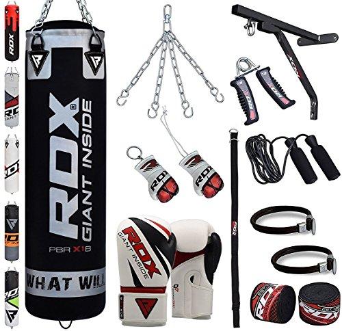RDX Boxsack Set Gefüllt Kickboxen MMA Kampfsport Muay Thai Boxen mit wandhalterung Stahlkette Training Boxhandschuhe 17 PC Schwer 4FT 5FT Punching Bag (16-gauge-box)