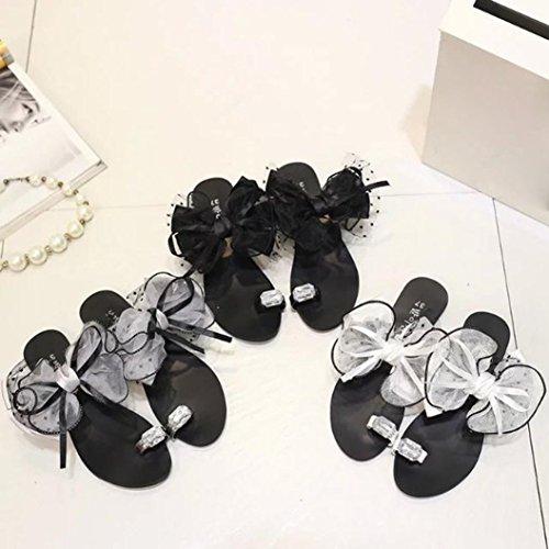 Femmes Chaussons Confort,OverDose Sandales Plates Tongs Sandales à Fleurs Flip Flops Basic Flat Gris