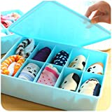 #9: Krevia 10 Grid Design Plastic Clothes, Undergarment,Stationary, Drawer Storage Organizer Box with Lid - 1pc (Color May Very)