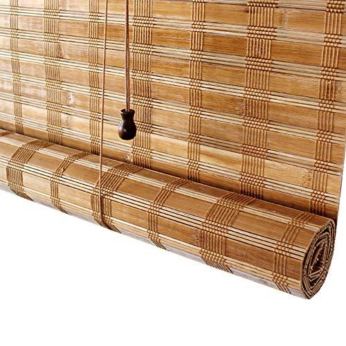 Rollos YXX 70% Blackout Woven Roller Roman Shades für Haustür, Bambusrollo Sonnenschutzrollo mit Volant (größe : 65×120cm) -
