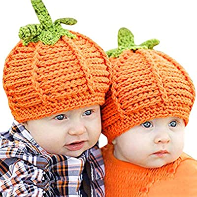 Diadia Toddler Infant Kids Cap Newborn Baby Cute Pumpkin Cap Knit Hat Halloween Costume Photography Prop from Diadia