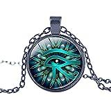 Fengteng Glas Stein Halskette Auge des Horus Anhänger antikes Ägypten Amulett Horus Auge Halsschmuck Symbol für Schutz vor negativen Energien Damen Herren Geschenk (1)