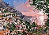 NR Dipingi con i Numeri Kit per Adulti Decorazioni per la casa Regalo Città costiera Zona residenziale Paesaggio 40X50Cm