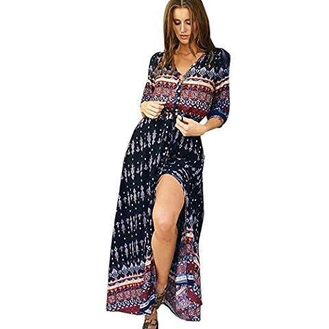 Summer Dress, Familizo Ladies Bohemian Tunic Floral Party Beach Long Maxi Dress (L, Brown)