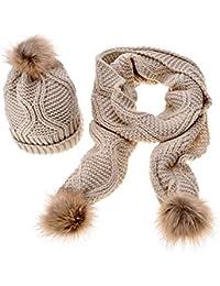 fc801250156d iSpchen Bonnet Echarpe en Laine pour Femme Echarpe Longue en Tricot Set  Hiver Deux Pièces avec