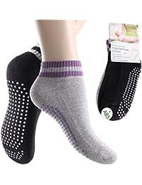 4 Paar Damen Yoga / Pilates Socken mit Antirutsch-Massagesohle - Handgekettelte Spitze - Qualität von celodoro
