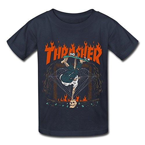 Spend freely kid's thrasher hellride funny skull skating t shirt