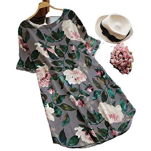 FeiXing158 2019 Plus Size Sommer floral Bedruckte Kleid Frauen Casual o Neck Kurzarm Sommerkleid Vintage Baumwolle leinen lose