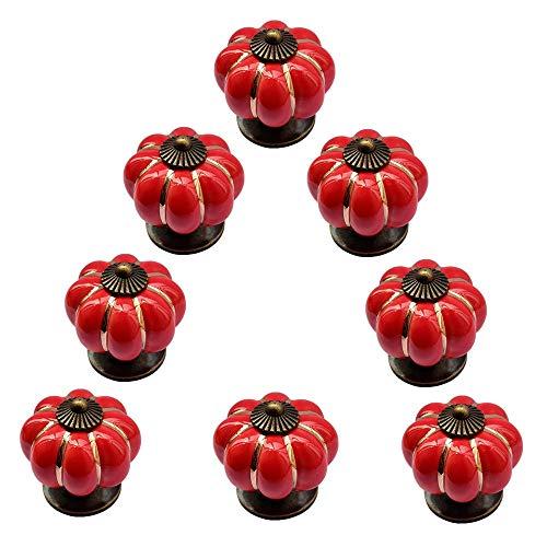 intage Dekorativ Rot Schubladenknöpfe Schrankknöpfe Türgriff Klein 8er Set für Landhaus Stil Keramik/Porzellan Konstruktion ()