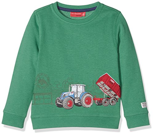 SALT AND PEPPER Jungen Sweatshirt Sweat Farm Work Traktor, Grün (Green Melange 678), 116