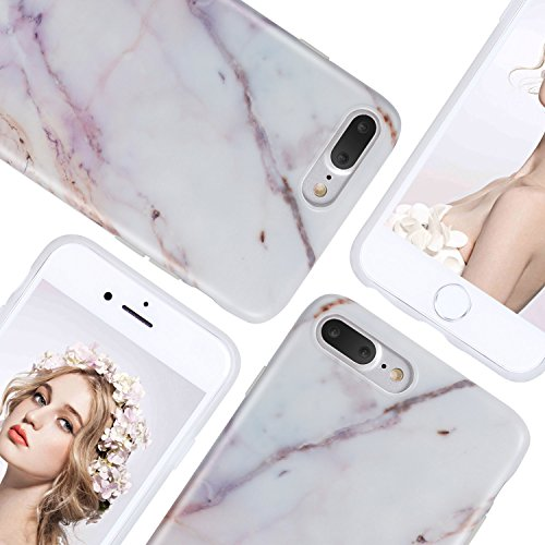 iPhone 8 Plus Marble Case, iPhone 7 Plus Marble Case, Imikoko Matt Soft Silicone Phone Case Stone Marble Painting Slim TPU Bumper Phone Case Flexible Protective Back Back Marble Lines Soft Back Cover  Muster 5
