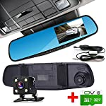 Dash Cam RX 32GB Dual Lens Car Camera Car Video Recorder for Vehicles Front and Rear DVR 4.3 170 1080P Micro-SD 24 hours Recording Dash Camera Vehicle Hard Wire Kit