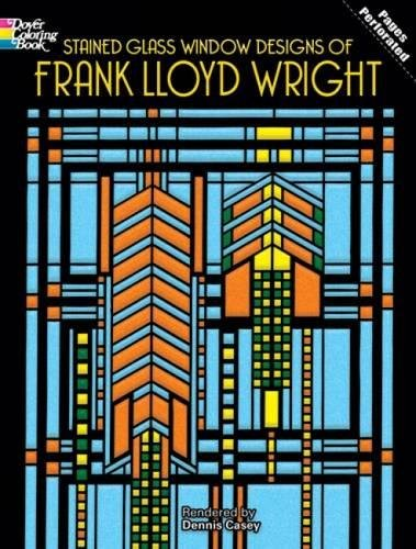 Stained Glass Window Designs of Frank Lloyd Wright (Dover Coloring Books) Translucent Vellum Paper