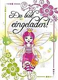 Einladungskarten Kindergeburtstag Mädchen Motiv Fee mit Innentext 12 Karten im Postkartenformat DIN A6 mit Umschlägen Einladung Geburtstag Mädchen Fee (K08)