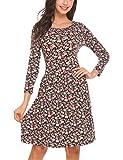 Beyove Damen Skaterkleid Rundhals Stretch Basic Kleider Herbst Kleid Blumendruck Partykleid A Linie Freizeitkleid Casualkleid