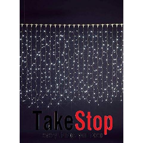 takestop® 200 LED PIOGGIA NEVE LUCI bianco freddo FILO BIANCO