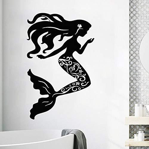 jiuyaomai Vinyl Wandtattoo Meerjungfrau Muscheln Nautische Wandaufkleber Home Badezimmer Dekor Schönheit Meerjungfrau Stil Tapete Vinyl Kunst Rosa 57x90 cm