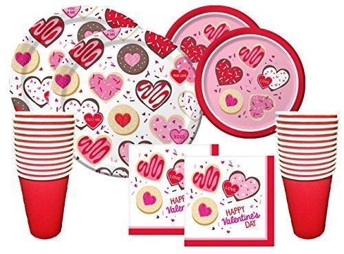 Valentinstag Party Premium Bundle für 16Gäste-Frosted Fun-Einweg Pappteller, Servietten und Tassen