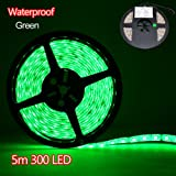Besdata Waterproof Ultra Bright 5M 500CM 5050 RGB 300 SMD Leds Strips Light Flexible for Indoor Office Home Aircraft Cabin Decorative - Energy Saving - CE Approved - Green - PL710A