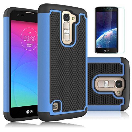 LG K8, LG Escape 3, 2 LG Phoenix, Colel ibrida a doppio strato, antiurto, con protezione Defender-Protezione schermo in vetro per LG LG Escape 3/K8 K350N/LG
